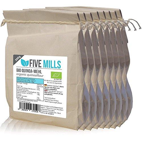 BIO Quinoamehl 8x500g aus 100% veganem Quinoa perfekt zum ersetzen von Weizenmehl; enthält alle essentiellen Aminosäuren; perfekt für eine ausgewogene Ernährung; von Natur aus ohne Gluten
