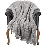 Throw Blanket for Couch - 50x60, Grey with Pom Poms - Fuzzy, Fluffy, Plush, Soft, Cozy, Warm Fleece Blankets - Perfect Throws for Bed, Sofa, Couches