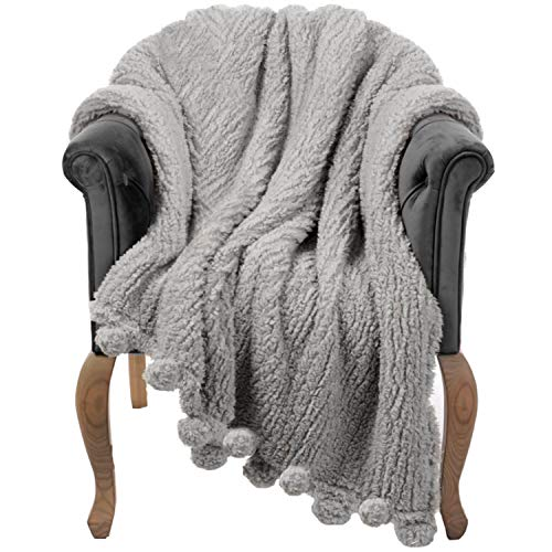Throw Blanket for Couch - 60x80, Grey with Pom Poms - Fuzzy, Fluffy, Plush, Soft, Cozy, Warm Fleece Cover - Perfect for Bed, Sofa
