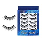 BEPHOLAN 5 Pairs False Eyelashes Synthetic Fiber Material | Natural Round Look | Cruelty-Free and Handmade | Easy to Apply | 3D Faux Mink Lashes