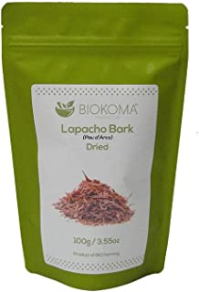 100% Pure and Natural Biokoma Lapacho Bark (PAU d'Arco) Dried Herb 100g (3.55oz) in Resealable Moisture Proof Pouch
