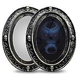 HHoo88 Happy Halloween Motion Activated Haunted Mirror with Creepy Sound-Luminous Portrait Halloween Prop Decoration Home Bathroom Decor Magic Wall Mirror