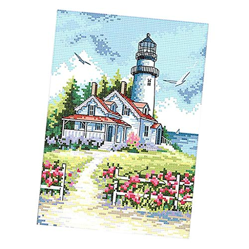 FLAMEER Kreuzstich Stickpackung Stickbild Stickerei Stickvorlage vorgedruckt Leuchtturm und Haus, (inkl. Englisch Anleitung)