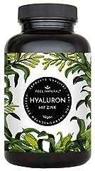 Hyaluronsyra kapslar med zink - 500mg hyaluronton per kapsel - 90 stycken (3 månader). Hyaluron 500-700 kDa. Laboratorietestad, högdos, vegan, tillverkad i Tyskland