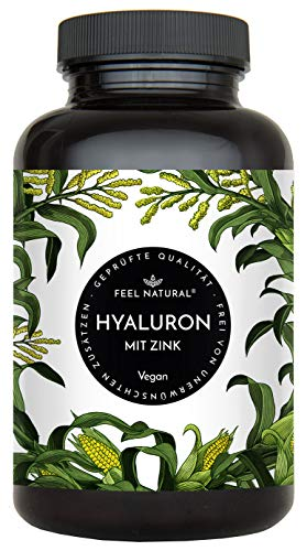 Hyaluronsäure Kapseln mit Zink - 500mg Hyaluron je Kapsel - 90 Stück (3 Monate). Hyaluron 500-700 kDa. Laborgeprüft, hochdosiert, vegan, in Deutschland produziert