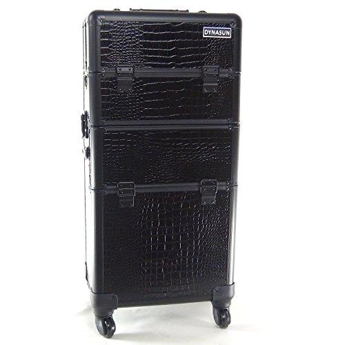 Beauty Case Make Up DynaSun BS40BK XXL Nero Professionale con Disegno di Pelle di Coccodrillo Valigia Cofanetto Porta Gioie Smalti Oggetti