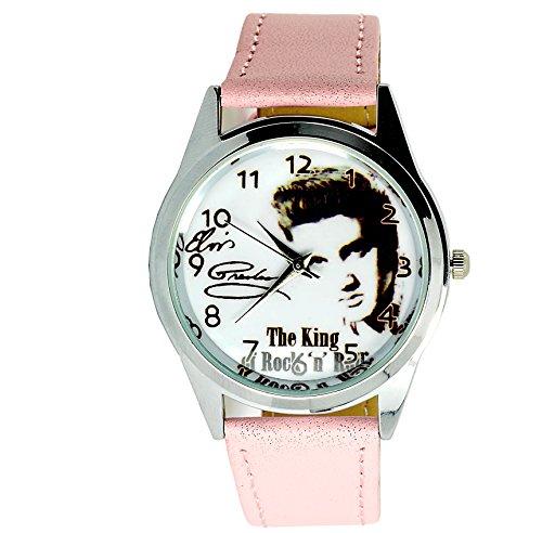 taport® Elvis Presley Bergkristall rund Armbanduhr Pink Echt Leder Band + Gratis Ersatz Batterie + Gratis Geschenkverpackung