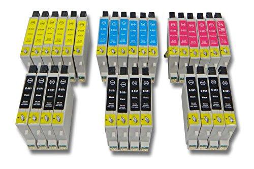 vhbw Set de 30x Cartuchos de Tinta para Epson Stylus Photo R240, R245, RX420, RX421, RX425, RX430, RX520.