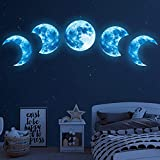 Large Glow in The Dark Moon Wall Decals Luminous Space Planet Blue Moon Phases Wall Sticker Glow in The Dark Stickers for Ceiling Removable Vinyl Boho Wall Decor for Kids Boys Girls Bedroom