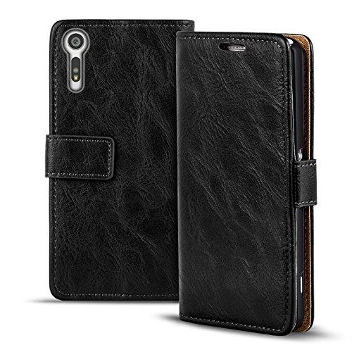 Preisvergleich Produktbild Verco Xperia XZ Hülle,  Premium Handy Schutzhülle für Sony Xperia XZ Hülle PU Leder Wallet Tasche Retro Flipcase,  Schwarz