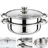 Cuiseur vapeur 2 couches en acier inoxydable, cuisinière à induction de 28 cm avec couvercle en verre, ensemble de casseroles de cuisine, casserole en acier inoxydable