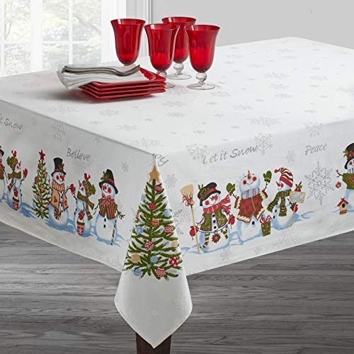 Benson Mills Believe Snowman Engineered Printed Tablecloth for Winter and Christmas (60' x 120' Rectangular, Believe Snowman)