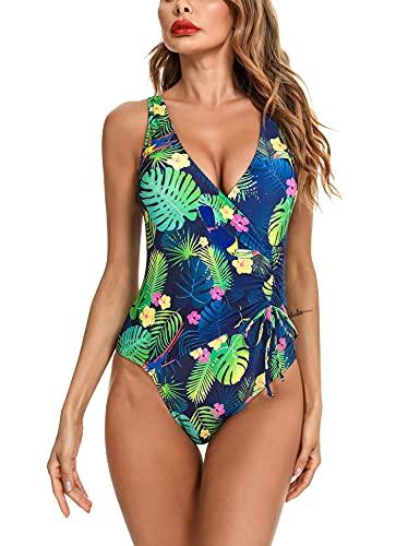 Irevial Traje de Baño de Una Pieza para Mujer Clásico Bañador Push-Up Monokini con Cuello en V Swimsuit Tirantes Ajustables Verde Estampado, L