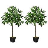Outsunny 2 Plantas Artificiales de 90 cm de Altura Árboles de Laurel Decorativos con Maceta para Hogar Salón Uso en Interiores y Exteriores Verde