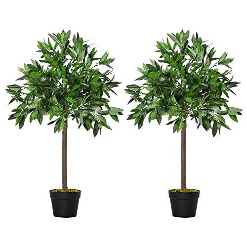 Outsunny 2 Plantas Artificiales de 90 cm de Altura Árboles de Laurel Decorativos con Maceta para Hogar Salón Uso en Interiores y Exteriores Verde ⭐