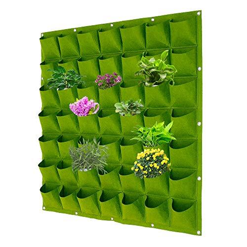 Bolsa para plantas de pared de 64 bolsillos, bolsa de plantación vertical colgada, bolsas de cultivo de pared, bolsa de cultivo de plantas, huerto interior (verde, 64 bolsas)