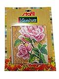 stafil Kit de bordado medio punto fantasía con rosas sobre fondo beige permite realizar un cuadro para bordar también en punto de cruz con hilos de algodón lanado, aguja y patrón.
