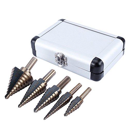 Brocas Nuzamas. 5 brocas de acero de cobalto HSS con múltiples agujeros, 50 tamaños, de alta velocidad, con caja de aluminio, para perforar madera y acero