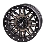 4/156 Tusk Teton Beadlock Wheel 14x7 4.0 + 3.0 Smoke/Black for Polaris RANGER RZR XP 1000 2014-2018