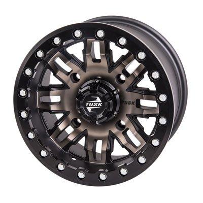 4/156 Tusk Teton Beadlock Wheel 14x7 4.0 + 3.0 Smoke/Black for Polaris RANGER RZR XP 1000 2014-2018