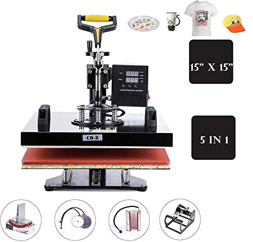 CO-Z 5 in 1 Pro Heat Press Machine 15' x 15' Intelligent Audible Alarm Transfer Sublimation Printer Swing Away Multifunctional for T-Shirt/Hat/Mug/Plate/Cap/Cup