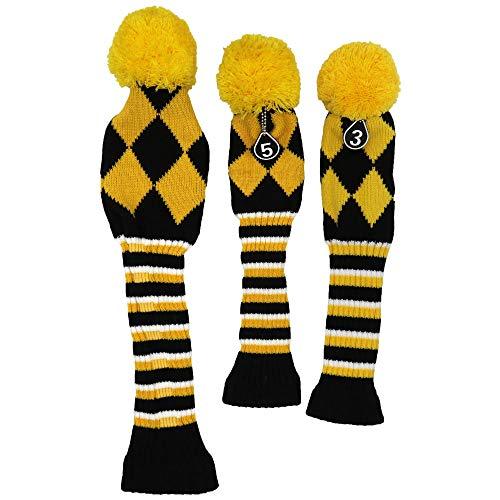 HISTAR Schlägerhaube für Golfschläger, klassisch, Star Knit, 3 Stück, gelb