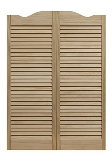 "LTL Home Products 858642 Dixieland Louvered Café Interior Swing Solid Wood Door, 36""X42"", Unfinished"