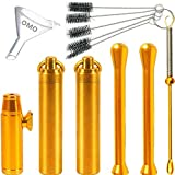 OMO Boutique Snuff Tool Set Copper snuff bottle Copper spoon Snuff bullet Glass bottle with spoon Suction Tube Cleaning brush Funnel(8pack)