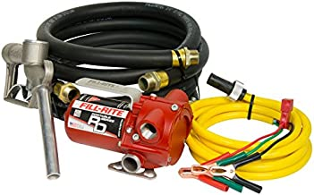 Fill-Rite RD812NH 8 GPM 12V Portable Fuel Transfer Pump with Manual Nozzle, Discharge Hose, Suction Hose, and Power Cord,Red