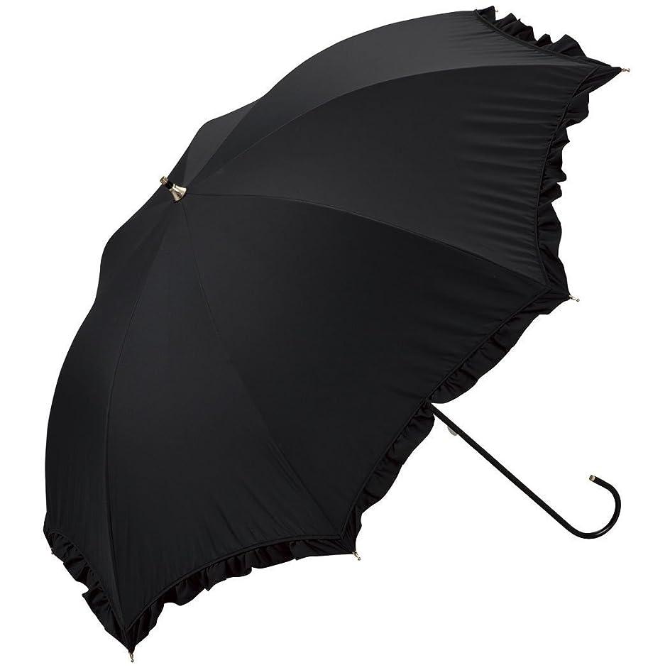 から聞く講義きょうだいワールドパーティー(Wpc.) 日傘 長傘  ブラック 黒  50cm  レディース 遮光クラシックフリル 81-1349 BK