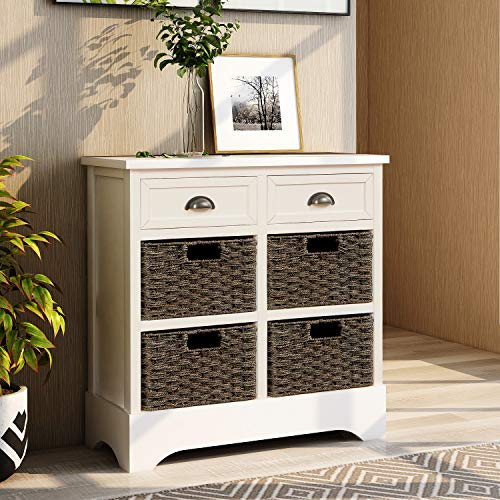 Rustic Storage Cabinet with Two Drawers and Four Classic Fabric Basket for Home Kitchen Entryway Living Room White