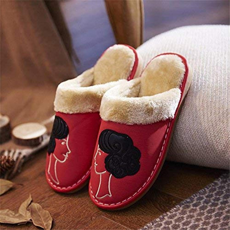 Lady Slippers Slippers Slippers Kvinnliga Bomull Slippers Inomhus Hålla varma Casual Slippers Stor röd markfärg Personlighet Kvalitet för kvinnor  low-key lyxkonflikt