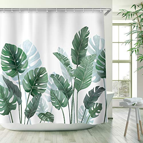 RosieLily Tropical Shower Curtain, Green Banana Plum Leaves Shower Curtains Set with 12 Hooks, Waterproof Shower Curtains, Decor Green Leaves Banana Plum Leaf Monstera Shower Curtain , 72x72 ''