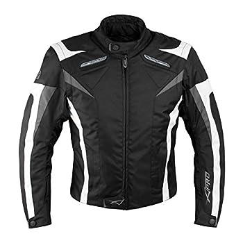 A-pro Veste de moto sport avec protections homologuées CE, gilet thermique, noir et blanche ,taille M,