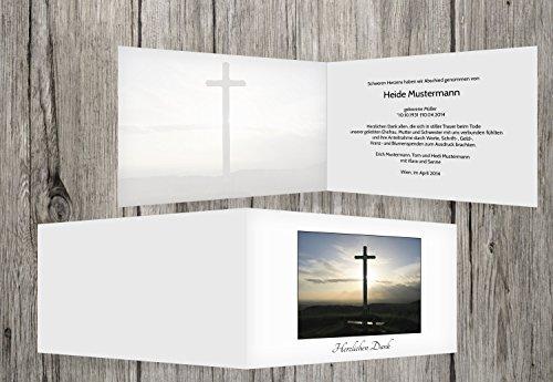 trauerkarten-druck   Danksagung Trauerfall   Danksagung Trauer Kreuz   5 Karten   mit Individualisierung & Umschlägen   in Weiß