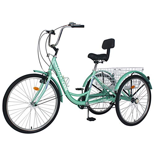 Barbella Adult Tricycles, 7 Speed Adult Trikes 24 inch 3 Wheel Bikes, Cruise Bike with Large Size Basket for Recreation, Shopping, Exercise Men's Women's Bike (Cyan, 24' Wheels 7 Speed)