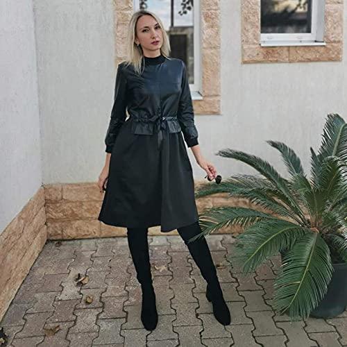 Astemdhj Vestido de Mujer Casual Falda Invierno PU Patchwork Fajas Vestido De Manga Larga Cuello Alto Una Línea Vestido Vintage Negro Sólido Elegante Vestidos hasta La Rodilla L