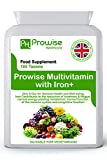 Multivitamin High Strength with Iron 180 Tablets 6 MONTHS DOSE- Healthy Energy Level British Qual, Vitamin D, Multivitamin Tablets Vegetarian, Folic Acid, Vitamin C, Vitamin E, Vitamin A, Skin Care, Vitamin B Complex, Healthy Nails, Strong Bones, Healthy