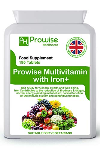 Multivitamin & Iron 180 Tablets ( 6 Months Dose ) Immune Support - One A Day Multi-vitamin Supplement – UK Manufactured | GMP Standards by Prowise Healthcare - Suitable For Vegetarians