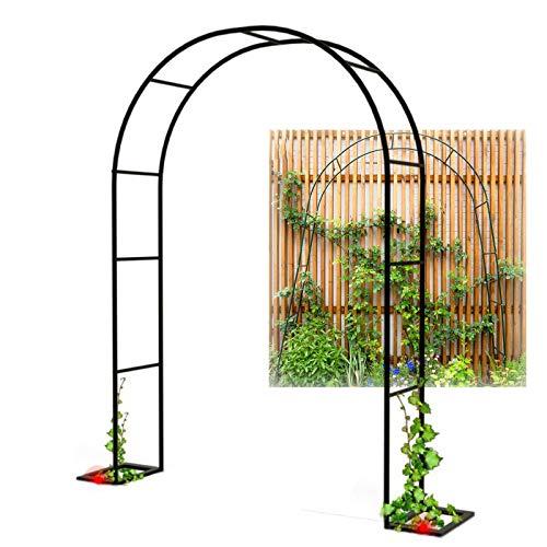 YYQ SHOP Stabil Garten-Torbogen Metall Rankhilfe Rankgitter Gartenbogen Schwarz/Weiß Rosenbogen Pergola Schwer Witterungsbeständig für Balkon Auffahrt Blumen 220/300/180x230cm