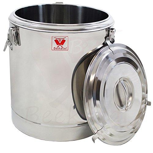 Beeketal 'BTE-60A' Transport Thermobehälter 54 L für Speisen und Getränke, Profi Gastro Speisentransportbehälter aus Edelstahl mit seitlichen Tragegriffen, Deckel mit Gummiring und Spannverschluss