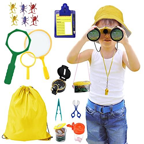Joyhoop Kit Explorador Niños, Juguetes de Exploración Al Aire para Niños de 3-10 Años, Juguetes Niños Educativos Regalo de Cumpleaños con Mochila Brújula Binocular Insectos Linterna.