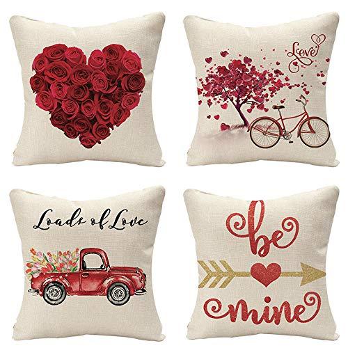 HNDXLHH Funda de cojín 45x45 Rosa Roja Funda de Almohada Lino de Algodón Fundas Cojines Sofa para Sofá Cama Hogar Decorativo Set de 4
