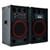 Fenton SPB-12 set coppia casse attive amplificate diffusori attiva / passiva (800 Watt, Bluetooth, subwoofer da 30 CM, USB SD MP3, bass reflex, 2 x MIC IN) Bluetooth