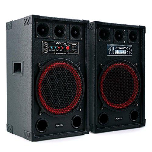 "Fenton SPB-12 - PA Lautsprecher, Aktivboxen Set, 800 Watt max, 30 cm (12\"")-Subwoofer, Bluetooth, USB-Port, SD-Slot, 2 x 6,3 mm-Klinke-Mic-In, Cinch-Line-In, schwarz"