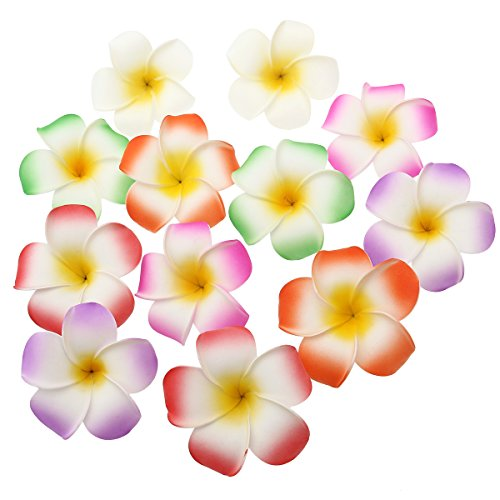 Frcolor 12 Pieces 3.5 Inch Hawaiian Plumeria Flower Hair Clip Foam Women Ladies Hair Accessory for Beach Party Wedding Event Decoration (White Purple Green Rose Red Red Orange)