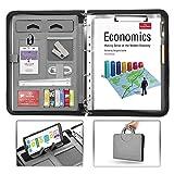 AtailorBird Carpeta Portadocumentos Maletín Plegable Calculadora Organizador Portafolio Cuero de PU con Corchete para Negocios Oficina Conferencia Viaje -Gris