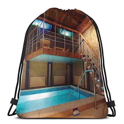 LLiopn Drawstring Sack Backpacks Bags,Swimming Pool Photography with Stairs Exotic Vacation Theme Tropical Summer Days,Adjustable.,5 Liter Capacity,Adjustable.