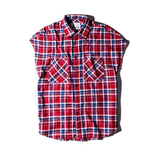 Camisas de Cuadros de Hip-Hop para Hombres, algodón Retro, cómodo diseño de Cremallera, Chaleco de Tendencia de Personalidad, Camisas de Manga Corta Medium