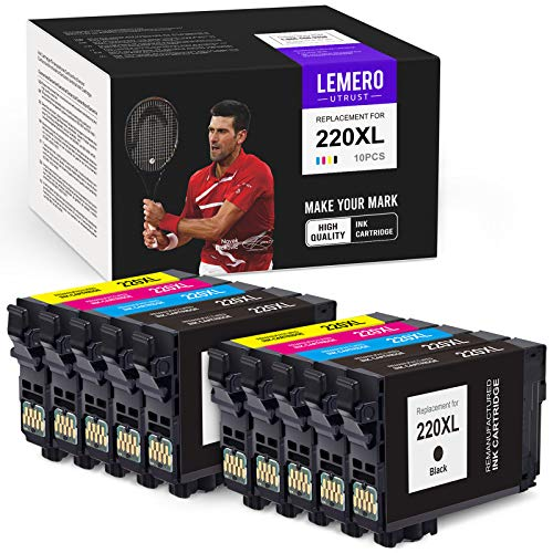 LemeroUtrust Remanufactured Ink Cartridge Replacement for Epson 220XL 220 T220 XL use with Epson Workforce WF-2760 WF-2750 WF-2630 Expression Home XP-320 XP-420 (Black Cyan Magenta Yellow, 10-Pack)